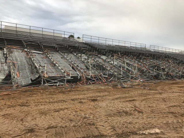 BLEACHERS and underneath panning on the home side of the stadium at Garden Grove High as the facility is demolished (GGUSD photo).