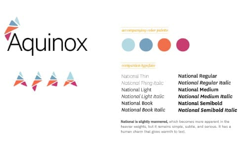 Aquinox brand guideline shows variations of the logo, brand color palette composed of two shades of blue, an orange and a magenta and twelve font options.