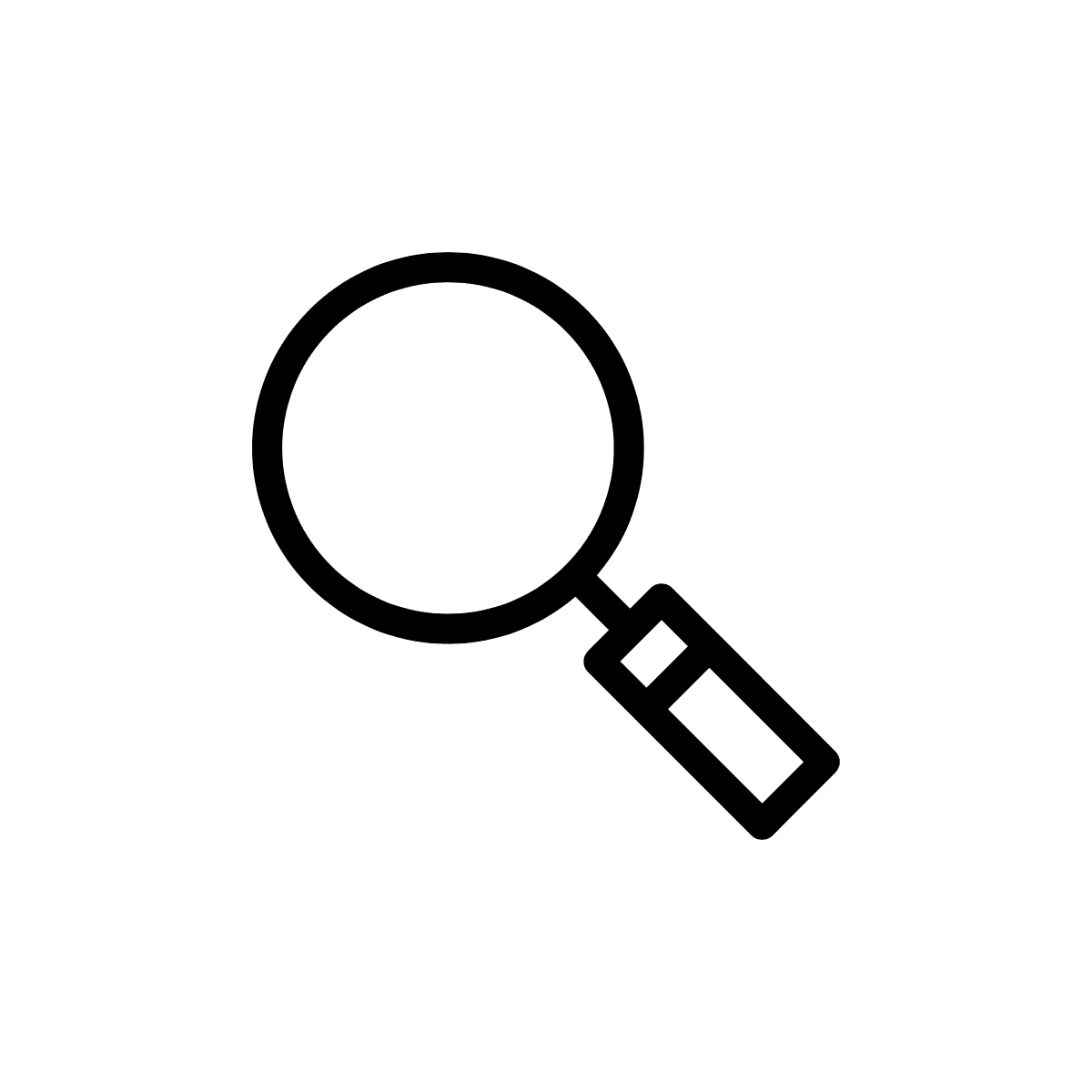 Black magnifying glass on transparent background.