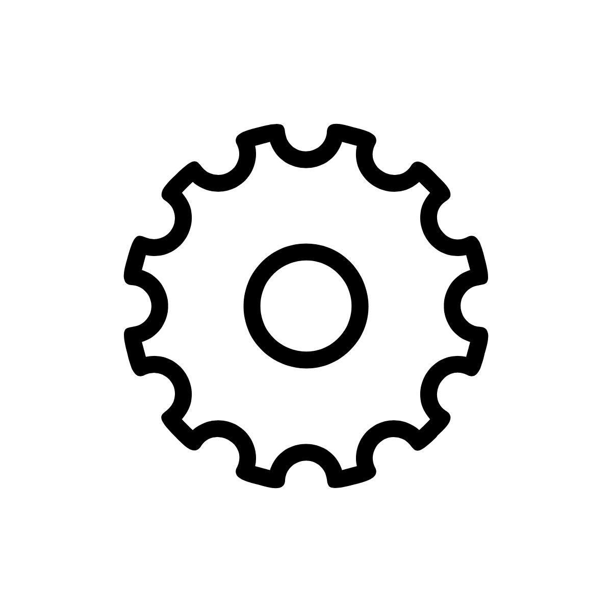 Black gear icon on transparent background.