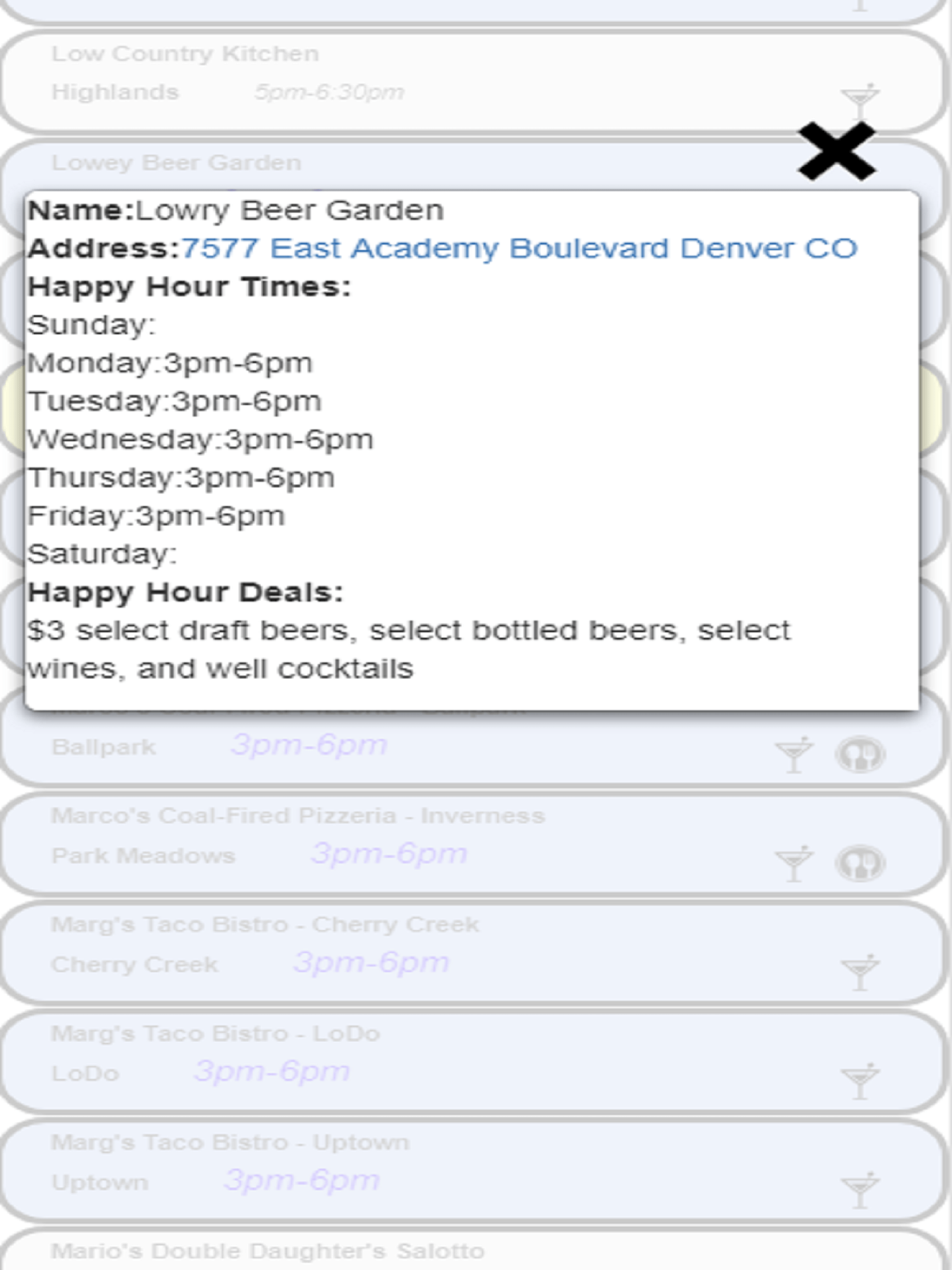 HHAp Denver – Happy Hours in Denver Colorado