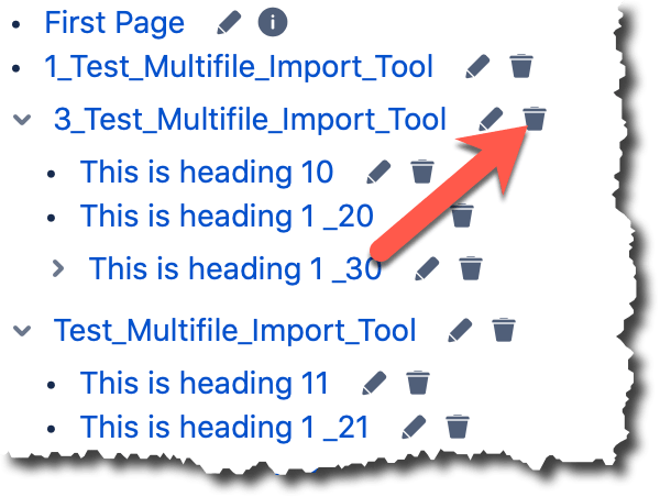 An image of the multi file import plugin tree with an orange arrow pointing toward the delete page icon on a tree node