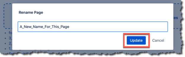 An image of the rename page dialog with an orange box around the update button