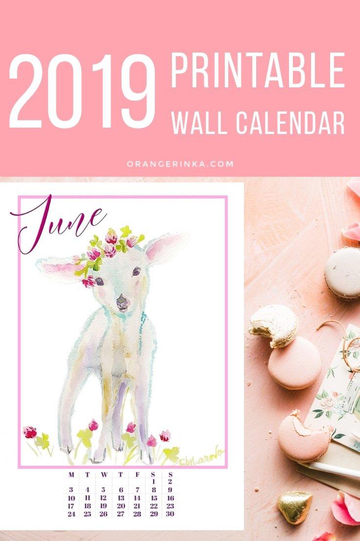 Floral Babies Printable calendar 2019