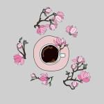 Printable Kitchen art coffee and magnolia