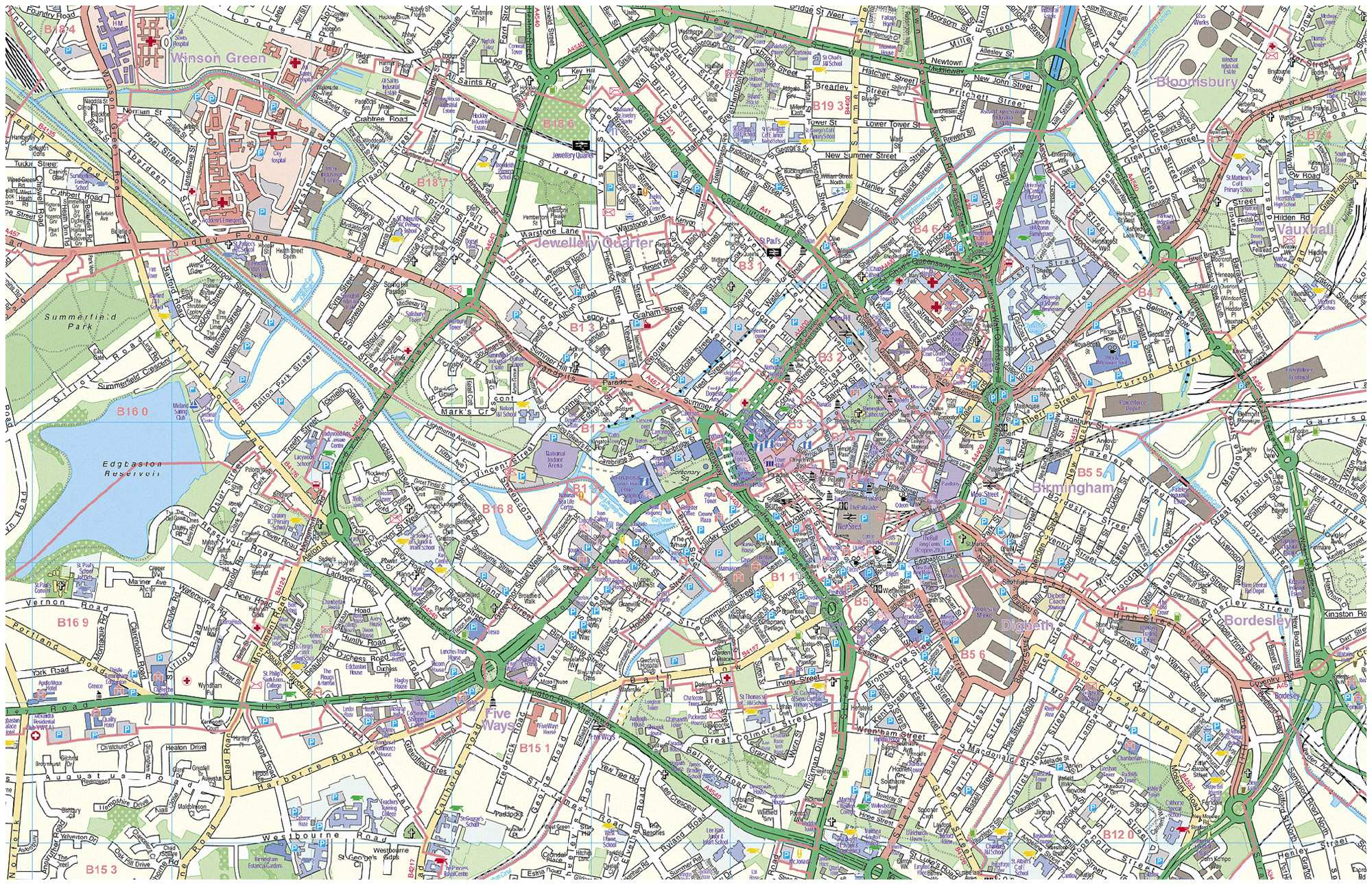 Large Birmingham Maps For Free Download And Print