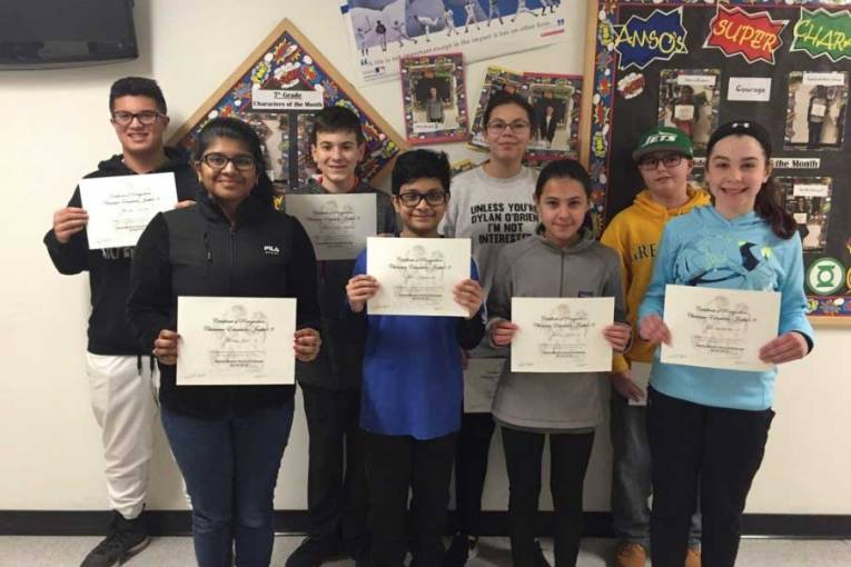 Amity Middle School Character Education Award Winning Students