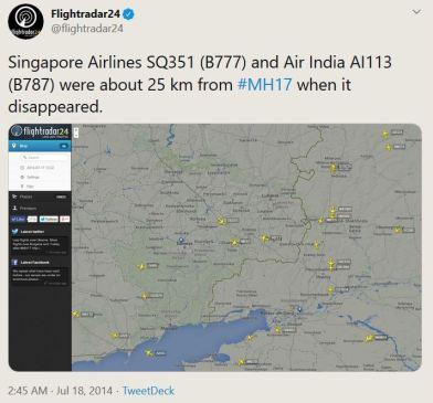 Flightradar Mh17 India Singapore