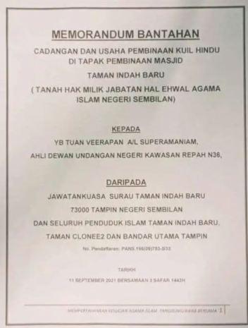 memorandum bantahan tampin kuil masjid