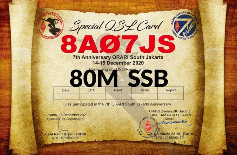 QSL Special Call HUT Ke-7 ORARI Lokal Jakarta Selatan – 80M SSB