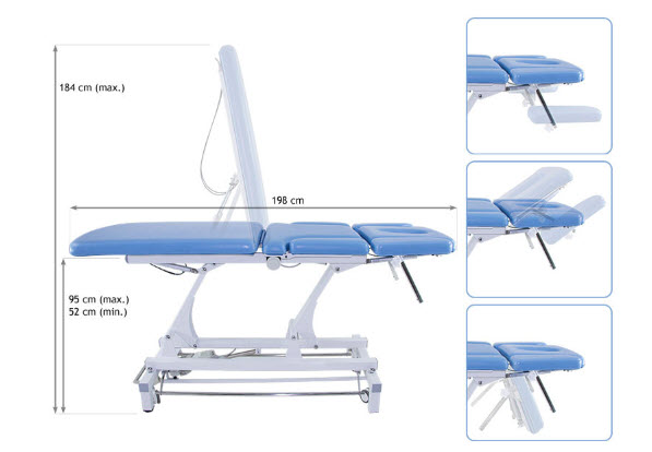 3 Sections Electric Treatment Table with Headrest & Folding Armrests 2