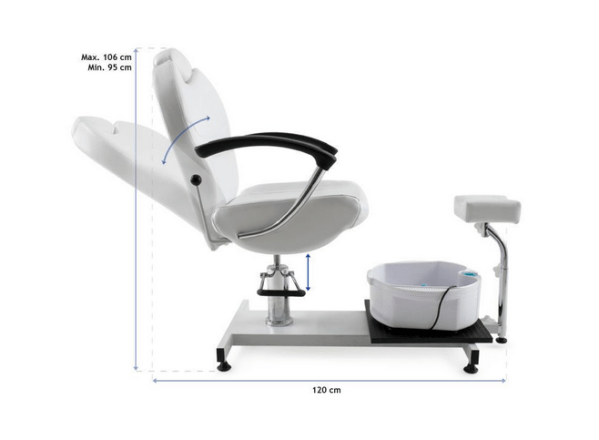 Pedicure Chair With Whirlpool Bath And Reclining Backrest 2