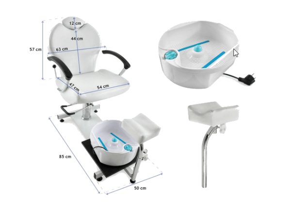 Pedicure Chair With Whirlpool Bath And Reclining Backrest 3