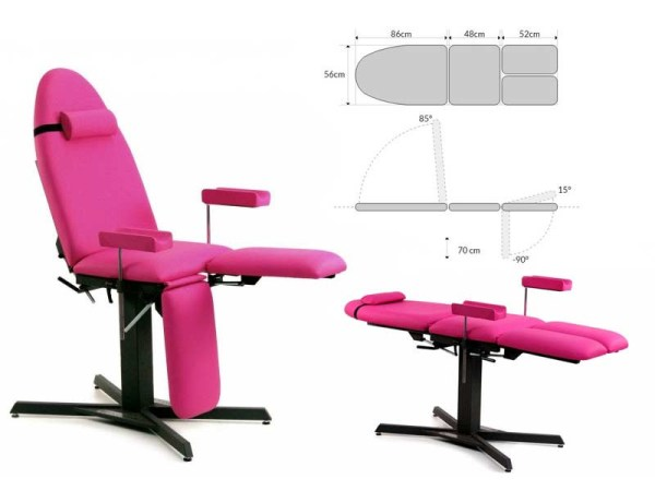 Fixed Pedicure or Tattoo Chair 3-Section with Headrest and Armrests 2