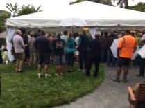Landsendt WTP Community Meeting Spilling out of the Marquee
