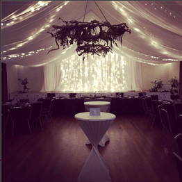 Oratia Settlers' Hall Wedding with draping and fairy lights