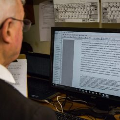 An Oratorian works on a new book.
