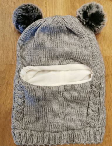 Baby Winter Scarf Knitted Cotton Earflap with Pompom photo review
