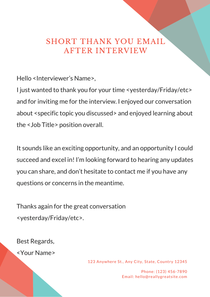 Image is a Thank you email after interview. use it to write a thank you email to the interviewer for giving you an opportunity for the interview and improve your chances of getting hired