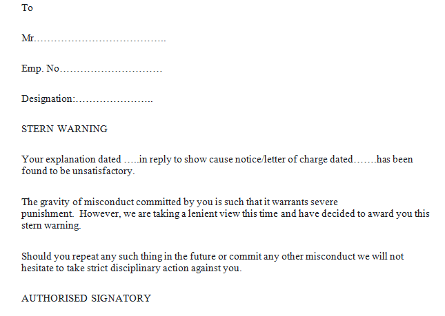stern warning letter