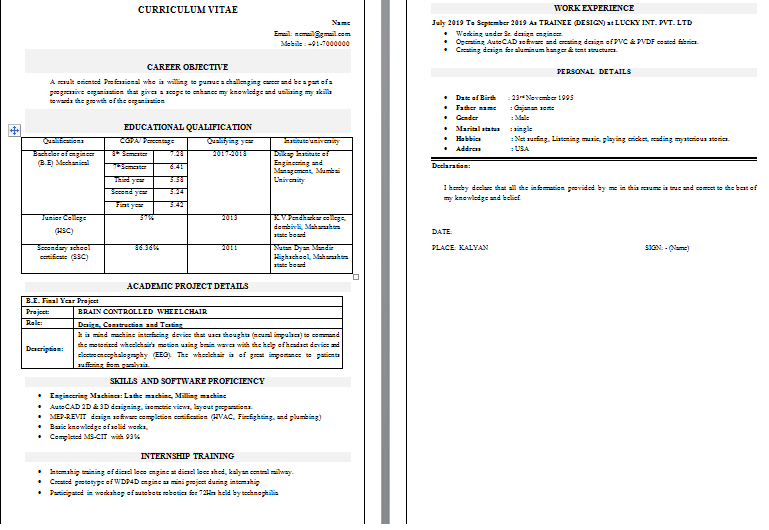 mechanical engineer resume template