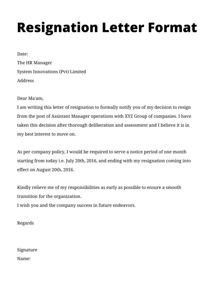 formal letter format resignation letter format