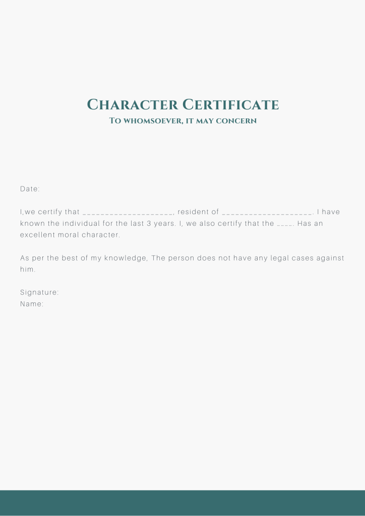 Simple character certificate format