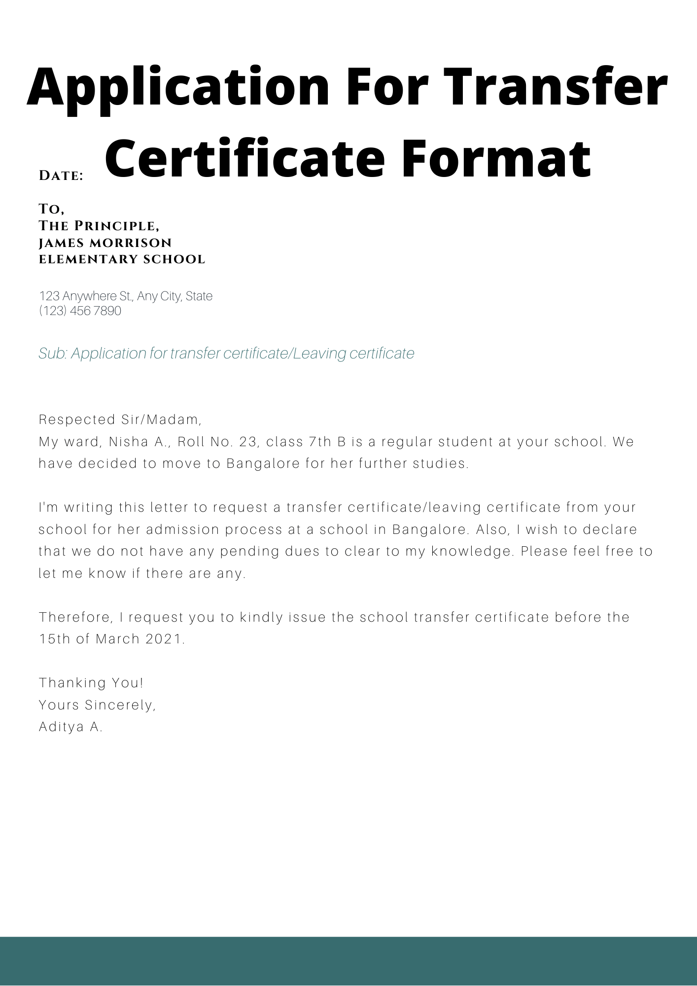 Application For Transfer Certificate From School