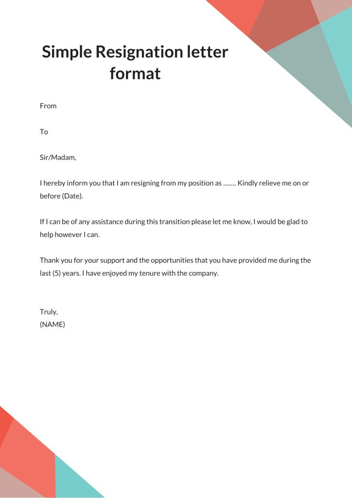 simple resignation letter sample 2