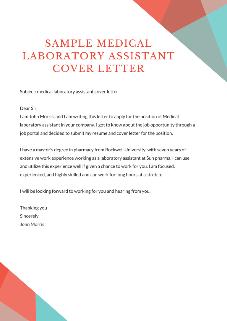 Medical Laboratory Assistant Cover Letter Sample