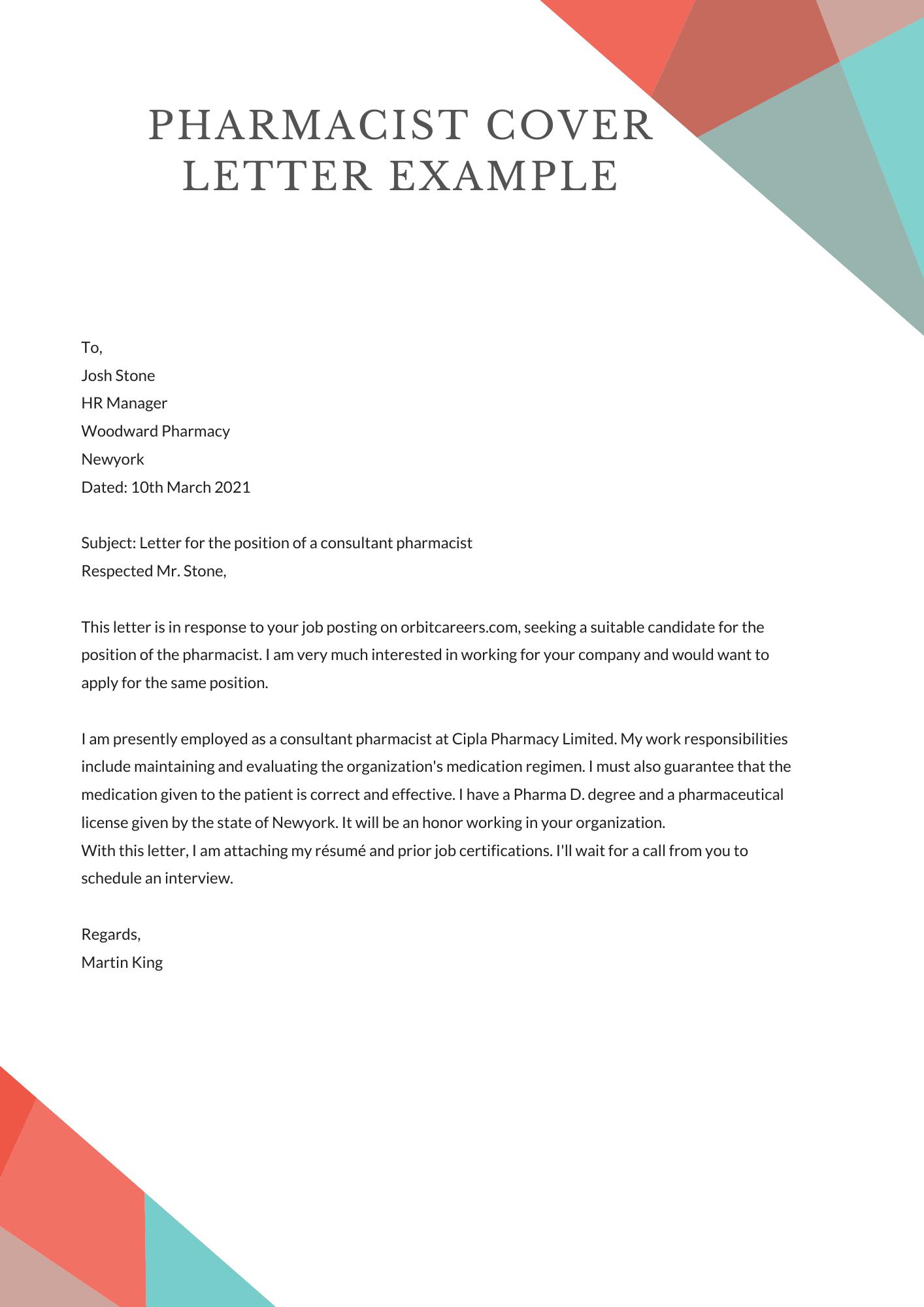 Pharmacist Cover Letter Examples