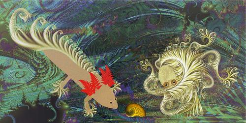 Friends: Fractolotl and Octofractalpus meet in the garden by Lambarie