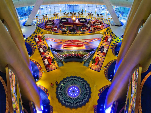 Bird's eye view of the lobby of the Burj Al Arab in Dubai