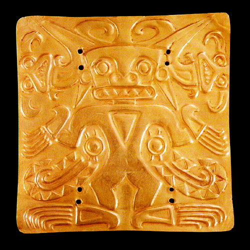Gold Pectoral Plaque of a Shaman Wearing a Saurian Costume 8th - 12th century AD, Central America