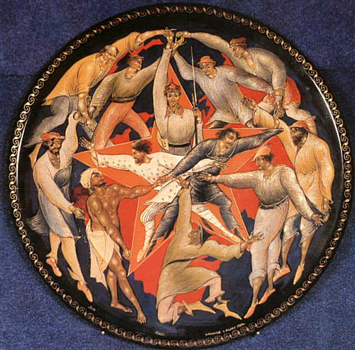 The Third International - Miniature on a round lacquered plate
