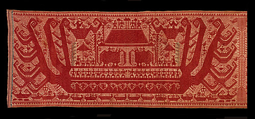 Double red-ship palepai ceremonial textile, Paminggir peoples, Kalianda peninsula, Lampung, south Sumatra, Indonesia, radiocarbon-dated to the period 1652–1806. Click to go to larger version at Hali.com