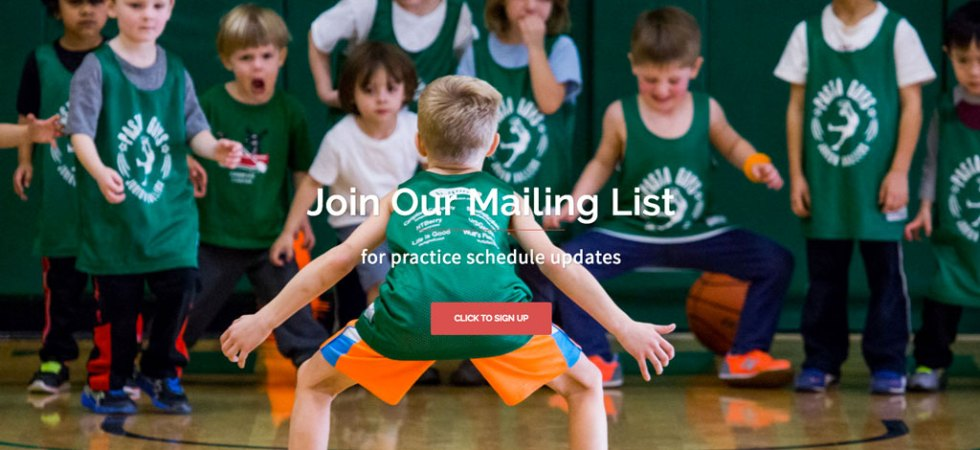 pasta guys implements call to action to get parents to sign up for their mailing list to keep informed