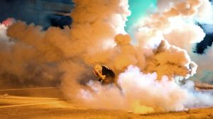 Protestors in Ferguson, Missouri are exposed to tear gas.