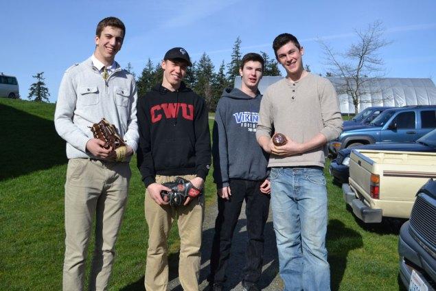 Aidan Kruse, Ivan Bullock, Matthew Mullan, and Miles Harlow baseballing / Photographer: Anneke Ivans