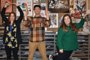 Becca Parish, Corey Wiscomb, and Leah Cardinell spell out OHS