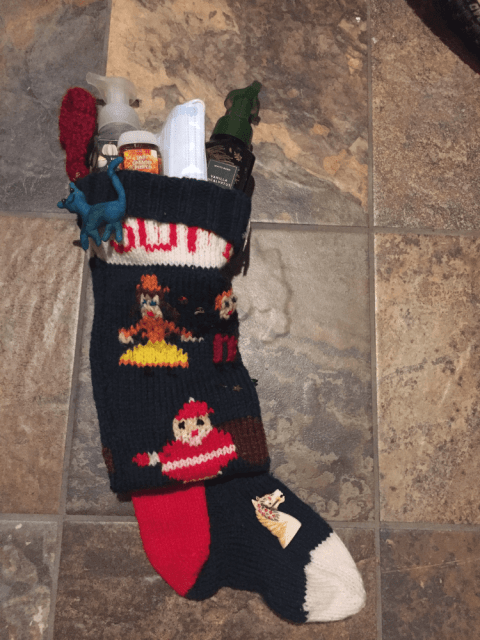a stocking full or cleaning supplies