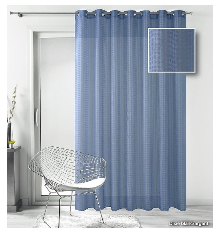 rideau voilage motif carreau bleu clair