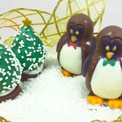 Edible Chocolate Penguins and Christmas Trees - Orchard Berry Arrangements, Spruce Grove
