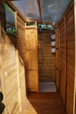 Open air gas powered showers
