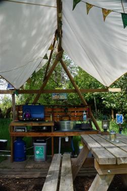 The yurt's kitchen area