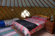 The double bed in Greengage Yurt