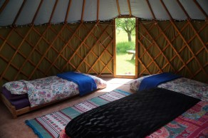 The view looking out from Greengage Yurt