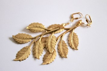Gold statement leaf and Swarovski earrings