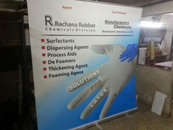 Large sized 6 x 6 feet roll up banner standee for rachana rubber company