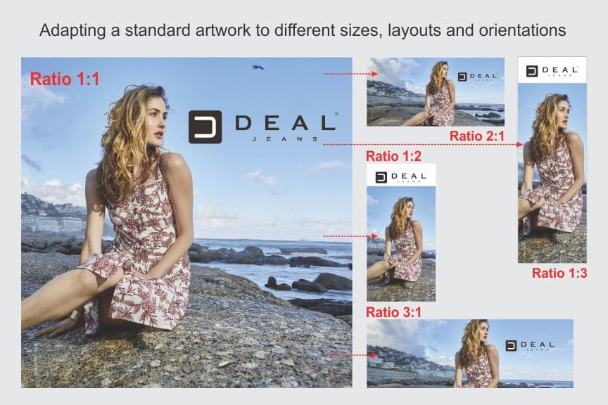 Adapting a standard artwork to different sizes, layouts and orientations depending on the sizes available at different stores